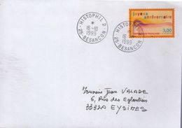 """Lettre Histophil 2- 25-Besançon- 16-I0 I999   """" Cachet Manuel Circulaire """" - Postmark Collection (Covers)"""