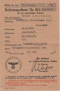 NS Befreiungsschein Nr. XI J Für Den Ausländischen Arbeiter Tschechoslowakei Sudetenland Jeschek Chemnitz Auerbach - Historische Dokumente