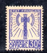 XP365 - FRANCE Francia - 1943 - COURRIER OFFICIEL, Yvert  2, 30 Cent. *** MNH . - Servizio
