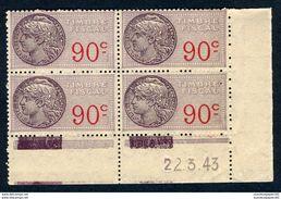 Timbre Fiscal De La SFU 1936 - 1958 N° 117 Neuf X 4 - CD Du 22-03-1943 + Millésime Au Dos - Fiscale Zegels