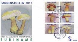 SURINAME 2017 FDC Mushrooms Pilze Champignons 6v - OFFICIAL ISSUE - DH1737 - Paddestoelen