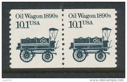 USA 1985 Scott # 2130. Transportation Issue: Oil Wagon 1980s, Pair, MNH (**). - Coils & Coil Singles