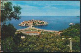 °°° 6389 - MONTENEGRO - SVETI STEFAN - PANORAMA - 1985 With Stamps °°° - Montenegro