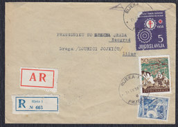 Yugoslavia Croatia 1958 Costumes With Anti Tuberculosis Surcharge, Registered Letter With Returnee, Rijeka - Beograd - 1945-1992 Socialist Federal Republic Of Yugoslavia