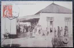 Mozambique Inharrime Estacao Do Caminho De Ferro Cpa Timbrée 1910 - Mozambique