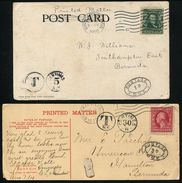 BERMUDA POSTAGE DUE TYPE 2 HANDSTAMPS EX USA 1901/1910 - Bermuda