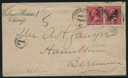BERMUDA POSTAGE DUE BAILEY'S BAY 12 LOCAL DATESTAMP 1891 - Bermuda