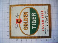 ETIQUETTE  GOLDEN TIGER   BRASSERIE DE BLIECK ALOST AALST - 5 - Beer