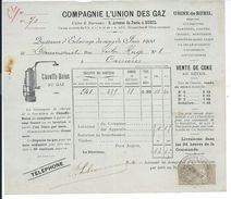 FACTURE De 1900..COMPAGNIE L'UNION Des GAZ, Avenue De Paris à RUEIL (92) - France