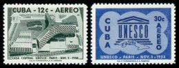 Cuba, 1958, UNESCO Building, United Nations, MNH, Michel 611-612 - Cuba