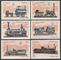 Cuba, 1986, Locomotives, Trains, EXPO, MNH, Michel 3017-3022 - Cuba