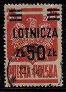 Poland 1945 Lotnicza 50Zt Overprinted Used Stamp # AR:202 - 1944-.... Republic
