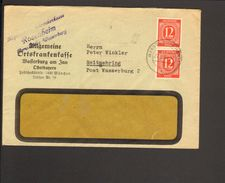 Alli.Bes.2 X 12 Pfg.Ziffer Auf Fernbrief  Aus Wasserburg Von 1946 - Gemeinschaftsausgaben