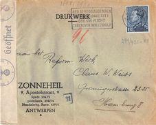 10276 BELGIQUE BELGIE BELGIUM ANTWERPEN TO HAMBURG - 1941 - Censura Censure Zensur Censored - Belgio
