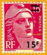 France**LUXE 1953 P 968 Vf 15 F Sur 18 F. Rose-carminé, Marianne De Gandon (format 20 X 24) N° 887 Surchargé - Ongebruikt