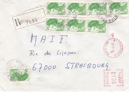 Env Reco Affr Y&T 2318 X 8 + MOG Obl CHATENOIS Du 27.3.1985 Adressée à Strasbourg - Postmark Collection (Covers)