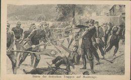 Sturm Der Deutschen Truppen Auf Maubeuge, Kriegs-Postkarte, Schlachtfeld, Militär, Deutsches Reich, WKI - War 1914-18