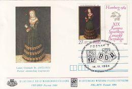 65005- L. CRANACH PAINTING, HAMBURG PHILATELIC EXHIBITION, UPU CONGRESS, SPECIAL COVER, 1984, POLAND - U.P.U.
