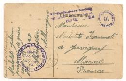 1918 LETTRE ( PRISONNIER DE GUERRE CAMP N°1 DETACHEMENT 28 ) DE MUNSTER A JUVIGNY FRANCHISE POSTALE CPA914 - Allemagne