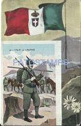 77875 ITALY PATRIOTIC FLAG & COSTUMES MILITARY SOLDIER POSTAL POSTCARD - Italia