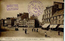 N°55131 -cachet Marine Française -service à La Mer -défense Fixe De Cherbourg- - Guerra De 1914-18