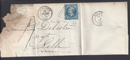 FR - 1858 - N° 14 A (I) Bleu Sur Lilas, Oblitéré Losange 3256, Sur Pli De St Quentin Pour Lille - - Marcophilie (Lettres)