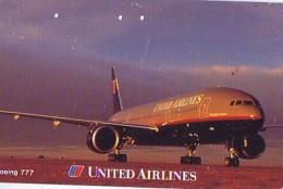 Télécarte  JAPON * 110-173032  * UNITED AIRLINES BOEING 777  (2273) * Phonecard JAPAN * Airplane * Flugzeug AVION - Airplanes