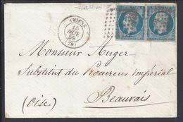 FR - 1859 - N° 14 A X 2 Bleu Sur Azuré Oblitéré Losange PC 65 Sur Enveloppe D'Amiens Pour Beauvais - B/TB - - Marcophilie (Lettres)