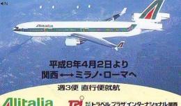 Télécarte  JAPON * 110-011  * ALITALIA  (2282) * Phonecard JAPAN * Airplane * Flugzeug AVION * AIRLINE - Avions