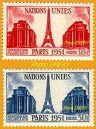France**LUXE 1951 P 911 Et 912 Paire, Vf 18 F Et 30 F. La Tour Eiffel Et Le Palais De Chaillot, 6e Session Des Nations U - France