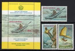 INDONESIE - 1980 - N°866/8 + Bloc N°32  ** Sports - Indonésie
