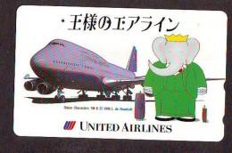 Télécarte  JAPON * 110-180239 * UNITED AIRLINES  (2283) * Phonecard JAPAN * Airplane * Flugzeug AVION * ELEPHANT - Avions