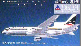 Télécarte  JAPON * 110-60184 * DELTA  (2285) * Phonecard JAPAN * Airplane * Flugzeug AVION * AIRLINE - Flugzeuge