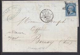 """FR - 1858  """"Gelle Frères Parfumeurs Paris"""" N° 14 A E Bleu Sur Lilas Oblitéré Etoile De Points Sur Lettre De Paris Pour B - Marcophilie (Lettres)"""
