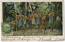 Indios Antropofagos Rio Pachitea Peru Cannibales  Stamped From Trujillo Nude Indians With Lances - Pérou
