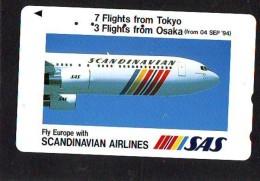 Télécarte  JAPON * 110-011 * SCANDINAVIAN AIRLINES * SAS  (2289) * Phonecard JAPAN * Airplane * Flugzeug AVION * AIRLINE - Airplanes