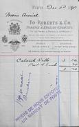 Facture De TO ROBERTS & Co FOREIGN & ENGLISH CHEMISTS à Paris à Mr AURIOL - Daté Paris Le 03.12.1890 - BE - France
