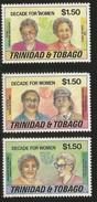 1995 Trinidad Tobago Decade Of Women  Complete Set Of 3   MNH - Trinidad & Tobago (1962-...)