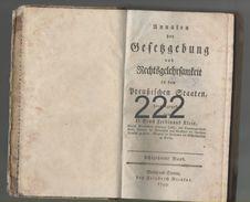 Annalen Der Gesetzgebung Und Rechtsgelehrsamkeit In Den Preussischen Staaten (achtzehnter Band 1799) - Militär & Polizei