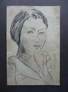 Disegno Originale Cesare Breveglieri Arte Contemporanea Matita Donna Volto Firma - Disegni