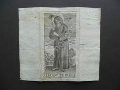 Santino Incisione San Francisco De Paula Primo Ottocento Religione Fede - Altre Collezioni