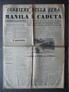 Corriere Della Sera Anno 67 N.3 Manila è Caduta Cavite Filippine 3/1/1942 WW2 - Libri, Riviste, Fumetti