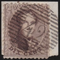 Belgie   .    OBP    .     14           .        O     .     Gebruikt  .   /   .    Oblitéré - 1863-1864 Médaillons (13/16)