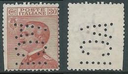 1922 REGNO EFFIGIE 30 CENT PERFIN ACI SENZA GOMMA - R3-6 - 1900-44 Vittorio Emanuele III