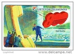LITUANIE 1998, TELEPHONE ET 800, Used Magnetic Telephone Card /  Utilisée. R681 - Litauen