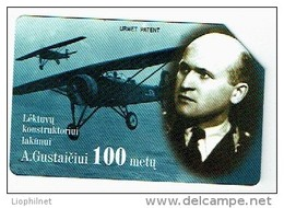 LITUANIE 1998, AVIONS A. GUSTAICIVI, Used Magnetic Telephone Card /  Utilisée. R680 - Litauen