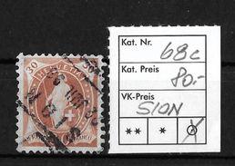 STEHENDE HELVETIA Gezähnt → SBK-68C    ►Fahrpost - Stempel SION◄ - 1882-1906 Armoiries, Helvetia Debout & UPU