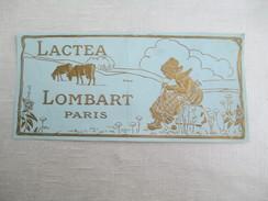 Etiquette De Chocolat/Chromolithographie/Jeune Vachère Tricotant/Gaufré Et Doré/Chocolat Lombart/vers1880-90    VPN104 - Chocolate