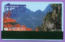 """Télécarte Corée °° 5000 U """" Paysage Montagne """"  Souple T  B  E - Corée Du Sud"""