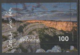 SWITZERLAND, 2017, MNH, CREUX DU VAN, LANDSCAPE, MOUNTAINS, VALLEYS,  S/SHEET - Geology